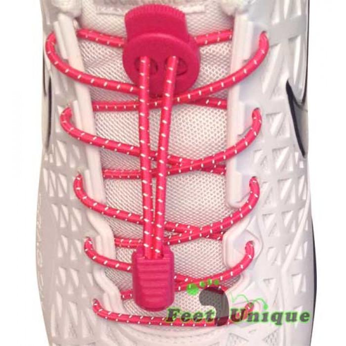 Cordones elásticos reflectantes rosa fucsia