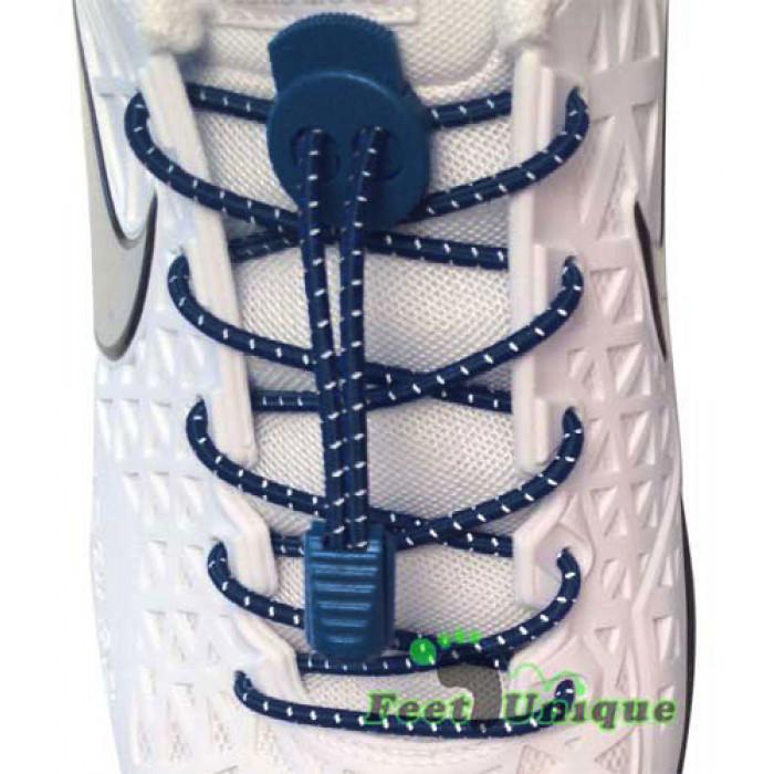 Cordones elásticos de rayas azul marino
