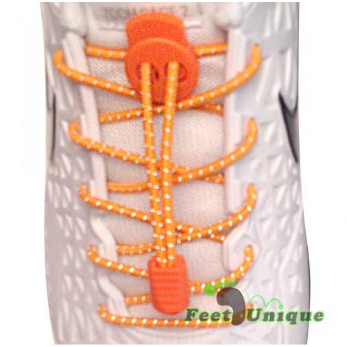 Cordones elásticos reflectantes naranja neón
