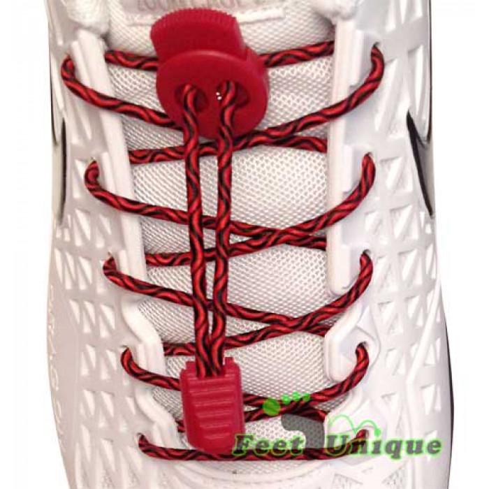 Cordones elásticos negros y rojos