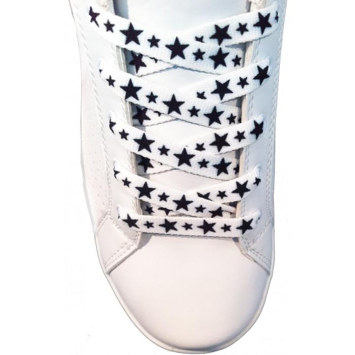 Cordones - 10mm Blancos con estrellas negras