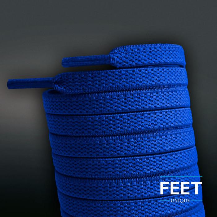 Cordones planos elásticos azules (sin atar)