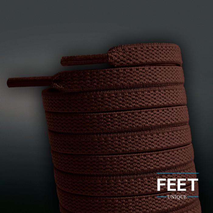 Cordones planos elásticos marrón oscuro (sin atar)