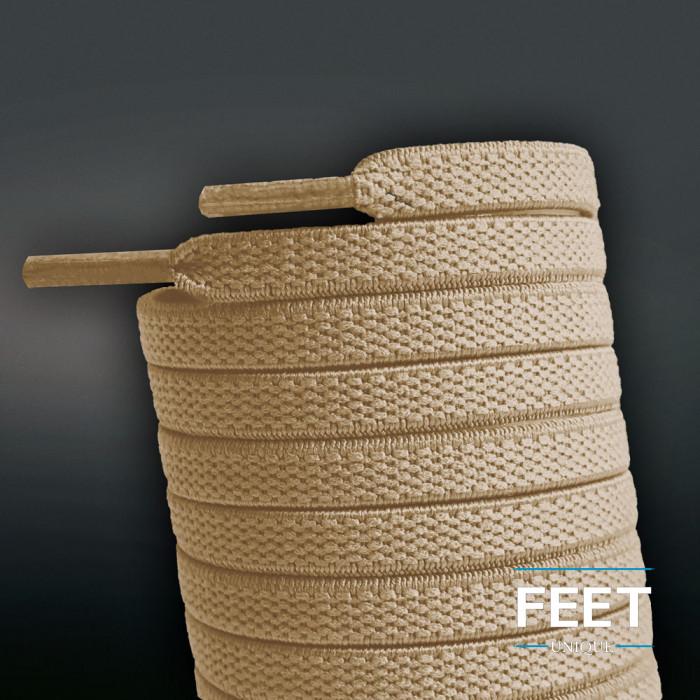 Cordones planos elásticos marrón claro (sin atar)