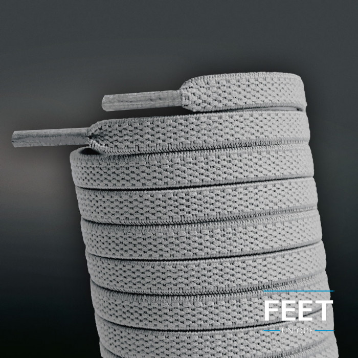 Cordones planos elásticos gris claro (sin atar)
