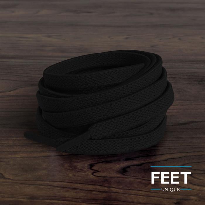 Cordones planos elásticos negros (sin atar)