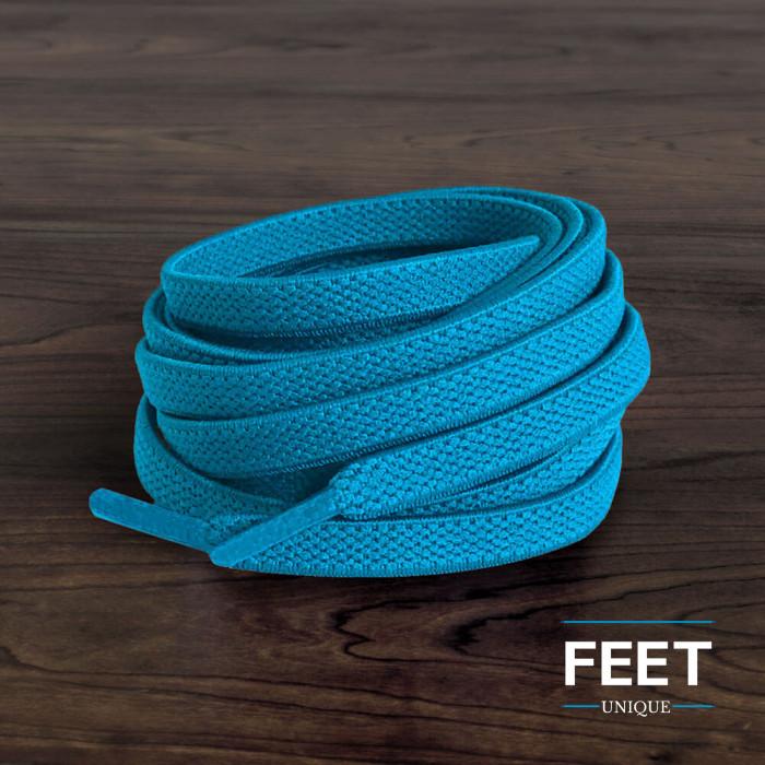 Cordones planos elásticos azul turquesa (sin atar)