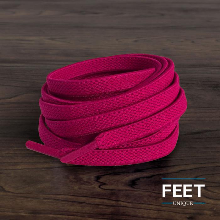 Cordones planos elásticos rosa fucsia (sin atar)