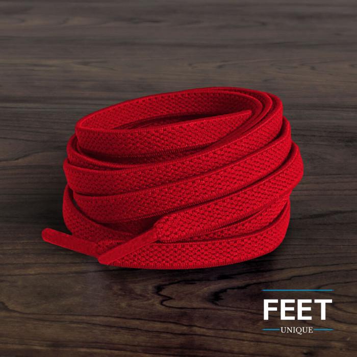 Cordones planos elásticos rojos (sin atar)