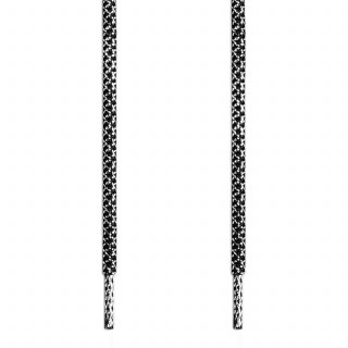 Cordones trenzados en plateado y negro